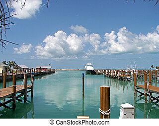 bahamas, puerto, mar, magnífico