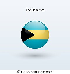 Bahamas round flag. Vector illustration.