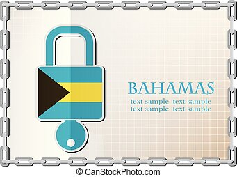bahamas, serrure, drapeau, fait, logo