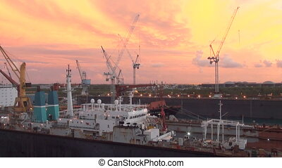 Bahamas - Ship In Drydock - Bahamas - Freeport - Industrial...