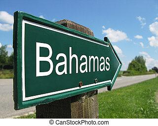 bahamas, signpost, ao longo, estrada, rural