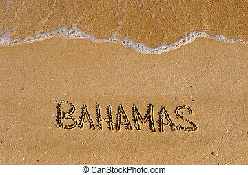 bahamas, verão, praia, palavra, arenoso