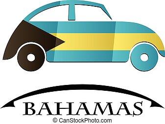 bahamas, voiture, drapeau, fait, icône