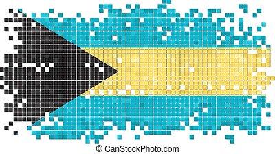 Bahamian grunge tile flag. Vector