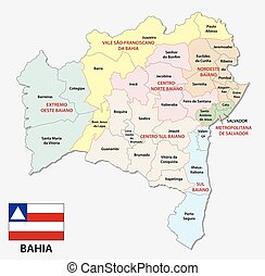 bahia administrative and political map with flag
