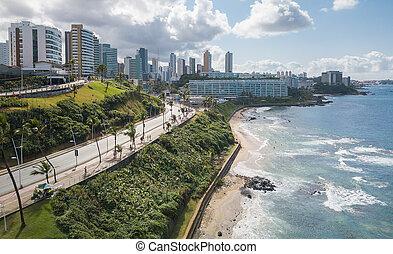 bahia, barra, ブラジル, サルバドール, 光景, 航空写真