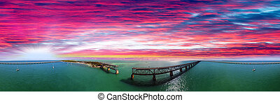 Bahia Honda State Park at sunset, Florida. Beautiful aerial view