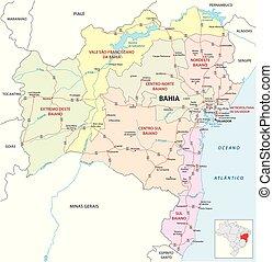 bahia road and administrative map brazil