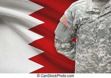 bahrain, -, amerikai, katona, lobogó, háttér