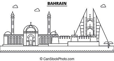 Bahrain architecture skyline: buildings, silhouette, outline landscape, landmarks. Editable strokes. Flat design line banner, vector illustration concept.