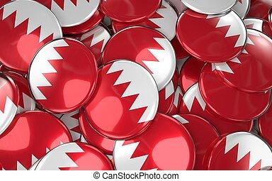 Bahrain Badges Background - Pile of Bahraini Flag Buttons.