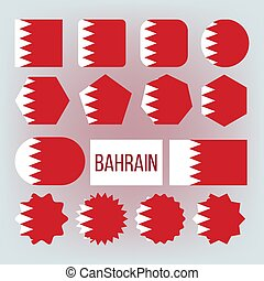 bahrain, blazoen, set, iconen, nationale, vector, kleuren