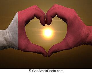 bahrain, coração, feito, amor, colorido, mostrando, bandeira, gesto, mãos, durante, símbolo, amanhecer