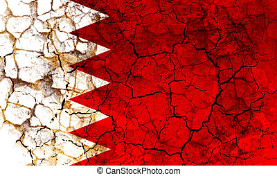 bahrain country flag painted on a cracked grungy wall