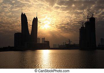 Bahrain Financial Harbour at sunset. Manama, Bahrain, Middle East