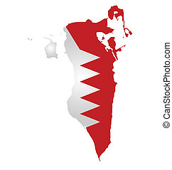 Bahrain Flag - Flag of Bahrain overlaid on outline map...