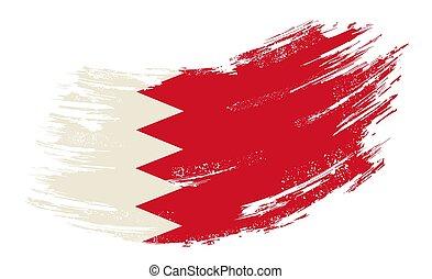 Bahrain flag grunge brush background. Vector illustration.