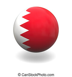 National flag of Bahrain on sphere isolated on white background