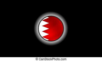 Bahrain flag on button 1080p
