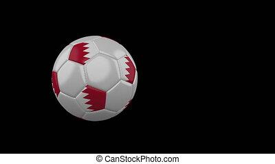 Bahrain flag on flying soccer ball on transparent background, alpha channel