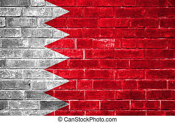 Bahrain flag painted on a brick wall