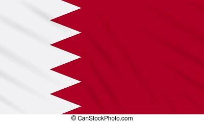 Bahrain flag waving cloth background, loop