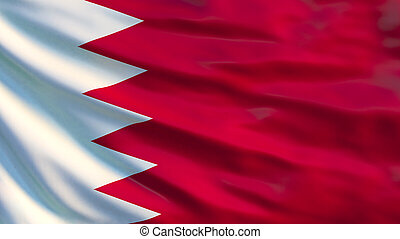 Bahrain flag. Waving flag of Bahrain 3d illustration