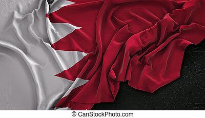 Bahrain Flag Wrinkled On Dark Background 3D Render