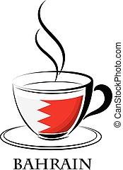 bahrain, logo, café, fait, drapeau