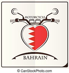 bahrain, logo, drapeau, fait, motocyclette
