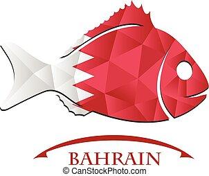 bahrain., logo, fish, fait, drapeau