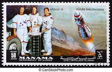 Bahrain, lune,  Apollo,  1972:,  irwin, timbre,  worden,  -,  mission, astronautes,  1972,  Manama, imprimé,  scott, environ,  15, Spectacles