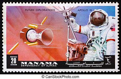 Bahrain, lune,  Apollo,  1972:,  Manama, timbre, Antenne,  -,  mission,  Manama,  1972,  radar, astronaute, imprimé, environ,  15, Spectacles