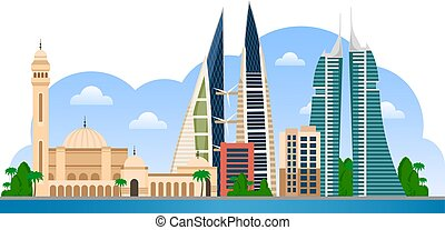 Bahrain. Manama skyline with colorful buildings and blue sky.