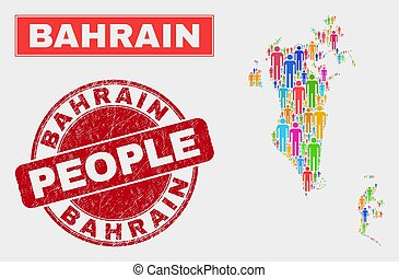 Bahrain Map Population People and Corroded Stamp - ...