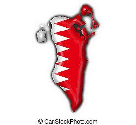 bahrain, mappa, bottone, bandiera, forma
