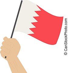 bahrain, nacional, mão, bandeira, segurando, levantamento