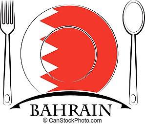 bahrain, nourriture, drapeau, fait, logo