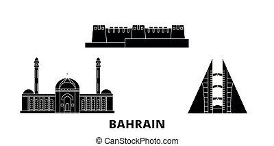 bahrain, plat, illustration, voyage, landmarks., symbole, horizon, vecteur, noir, vues, ville, set.