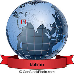 Bahrain, position on the globe Vector version with separate layers for globe, grid, land, borders, state, frame; fully editable