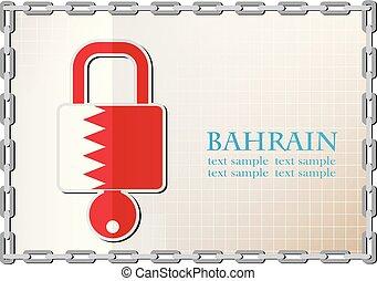 bahrain, serrure, drapeau, fait, logo