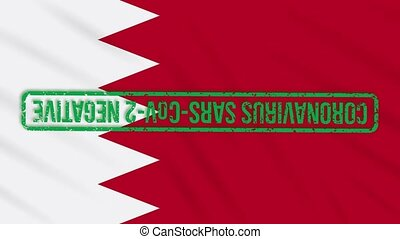 Bahrain swaying flag with green stamp of freedom from coronavirus, loop