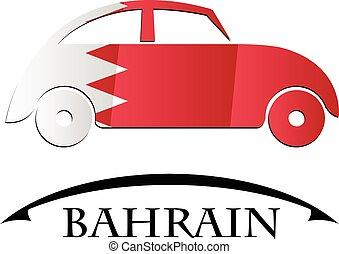 bahrain, voiture, drapeau, fait, icône