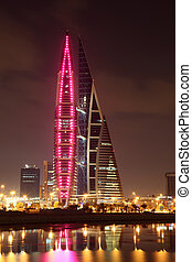 Bahrain World Trade Center Skyscraper at night. Manama,...