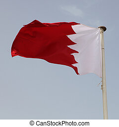 The national flag of Gulf Co-operation Council member Bahrain