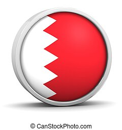 Bahraini flag with circular frame. Part of a series.