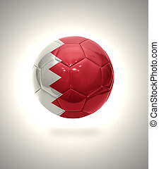 Football ball with the national flag of Bahrain on a gray background