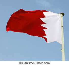 The national flag of the Arabian Gulf state of Bahrain