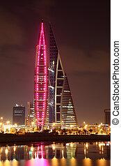 bahrein, centro, manama, comercio, medio, rascacielos, mundo, este, night.