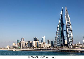 bahrein, mundo, centro, comercio